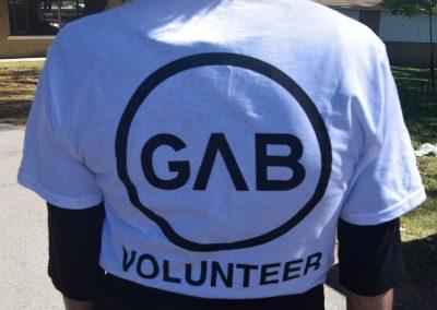 Michelle wearing GAB volunteer shirt